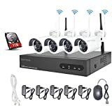 Kit de Vigilancia de Video WiFi Aottom 1080P 8CH Kit de Seguridad inalámbrica 4 Camaras, Sistema Seguridad WiFi, Visión Nocturna, Detección Movimiento, Email Alarmas, App Android/iOS, Incluye 1TB HDD
