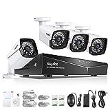 SANNCE Kit de 4 Cámaras de Vigilancia Seguridad 1080P 4CH NVR y 4 IP Cámaras de vigilancia 2MP IP66 Impermeable Interior/Exterior IR Leds Visión Nocturna 100pies/30m detección de Movimiento