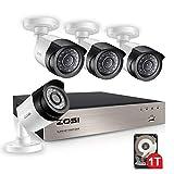 ZOSI Sistema de Cámara Vigilancia 1080P CCTV Kit de Seguridad Hogar 4CH HD Grabador DVR + (4) Cámara Bala Exterior + 1TB Disco Duro, Visión Nocturna, Detección de Movimiento, Acceso Remoto