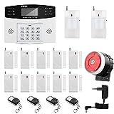 Sistema de Alarma gsm/SMS LCD Pantalla de en Castellano Teclados Llamadas de 6 Teléfonos Diferentes Antirrobo Sistema de Seguridad para el Hogar, Oficina, Tienda, Pilas Incluidas