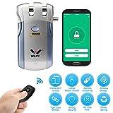 WAFU HF-018W Cerradura Invisible, Cerradura Inteligente WiFi, Cerradura Control Remoto con 2 Controles Remotos, Soporta Desbloqueo de Aplicaciones iOS/Android, Azul + Plata