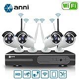 Anni Kit de Cámaras Seguridad WiFi Vigilancia Inalámbrica Sistema 1080P 8CH HD NVR,(4) 1.0MP 720P Cámara CCTV Kit de Seguridad,P2P,Outdoor Visión Nocturna de Cámara De Sistema De Vigilancia,NO HDD